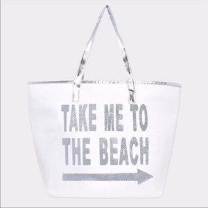 Take Me To The Beach Tote (Silver)